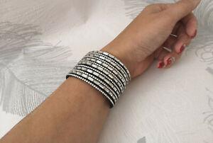 STUNNING 4cm wide black sparkling rhinestone diamante wrap - cuff bracelet  #A72