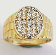 14k Yellow Gold Man's  Ring w/ Cz's  size 8