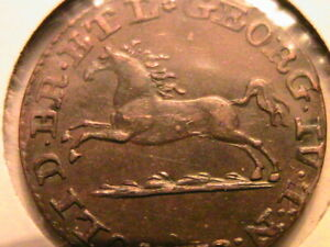 1820-MC Brunswick German States Pfenning Ch AU+ Lustrous Toned Orig Germany Coin