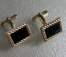 Cufflinks Vintage Mens Cuff Links 1960s 1970s BLACK ONYX INSET GOLDTONE