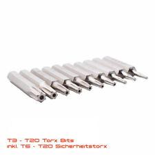 10 tlg Torx Bit Set mit Loch T3 T4 T5 T6 T7 T8 T9 T10 T15 T20 28mm LANG Stück