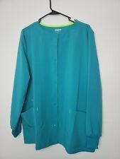 New ScrubStar Women's Button Front Scrub Jacket Size Large Teal Blue Pockets
