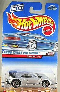 1998 Hot Wheels #677 First Editions 31/40 CALLAWAY C-7 Gray wPlastic Hdlght w5Sp