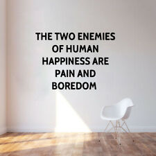 The Two Enemies Of Human Happiness Phrase Word Wall Sticker Vinyl Decor NN2030
