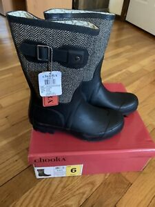 Chooka Women Rainboots Black Racer Herringbone, 6, New