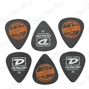 "6 x Dunlop ""Lucky 13"" Genuine Parts MEDIUM .73mm Tortex Guitar Picks Plectrum"