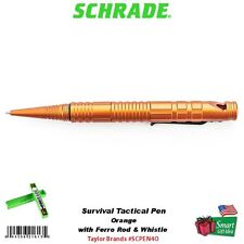 Schrade Orange Survival Tactical Pen w/Ferro Rod Fire Starter & Whistle #SCPEN4O