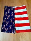 Boys OP Patriotic Flag Skull Themed Swim Trunks Fully Lined Size XL (14-16)