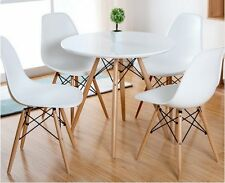 Como Round Dining Table With Solid Beech Wood Legs-White Top(Table Only)-DT01W