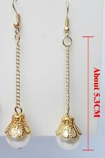 Handmade beautiful long gold plated chain dangel earring of 10mm pearl 5cm