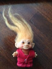 "VINTAGE 1960s TROLL DOLL ORANGE HAIR 2 1/2"" AMBER EYES BACK IS MARKED DAM RARE"