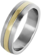 Akzent Damen-Ring aus Edelstahl Bicolor gr. 68 SA1170