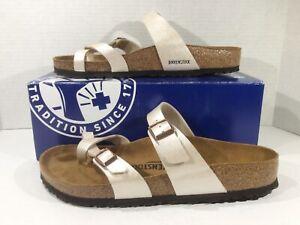 BIRKENSTOCK Womens Mayari Pearl White Birko Flor Sandal Shoe Sz 10 EU41 ZB6-1574
