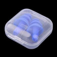 Hot Blue Silicone Ear Plugs Anti Noise Hearing Protection Earplugs 1Pair+Box
