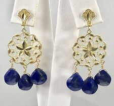 Natural Lapis Lazuli & Solid 14kt Yellow Gold Chandelier Earrings, New