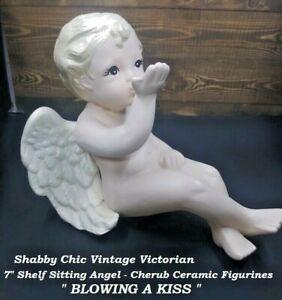 "7"" Shelf Sitting Angel  Cherub Ceramic Figurines "" BLOWING A KISS "" Shabby Chic"