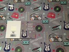 Mens Male Music Techno Guitar Birthday Gift Wrapping Paper 2 Sheets + 1 Gift Tag
