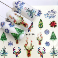 Flower Deer Nail Art Water Decals Christmas Transfer Stickers Nail Manicure Tool