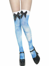 Blue White Tie Dye Thigh High Stocking w/ Bows Alice in Wonderland Angel Hippie