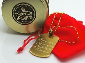 PERSONALISED Serenity Prayer ID TAG 24K Clad  Necklace Recovery Gifts AA NA