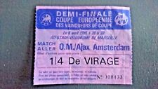 OM MARSEILLE AJAX AMSTERDAM 1987 1988 TICKET COUPE DES COUPES 1/2 FINAL HOLLAND