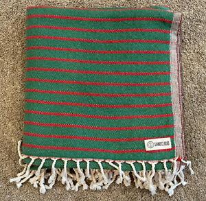 "Sand Cloud Block Stripes XL Turkish Beach Towel Green Red 54"" X 60"" NWOT"