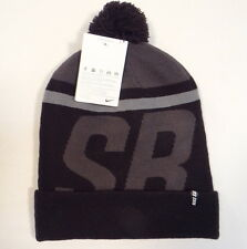 b142a456d9c Nike SB Signature Black & Gray Knit Cuff Beanie with Pom Pom Adult One Size  NWT