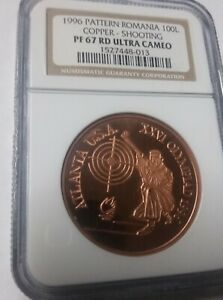 Rare 1996 Romania Copper 100 L  Pattern  Olympic Shooting  NGC PF 67
