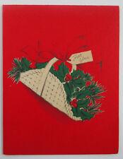 Vintage Unused Norcross Christmas Greeting Card Basket of Holly Berries