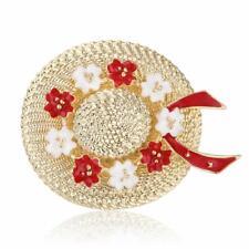 Vintage Enamel Summer Flower Hat Brooch Pin Costume Badge Womens Mens Jewellery