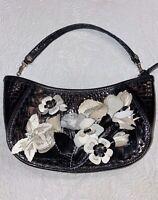 Brighton Rare Masterpiece Calista Black Leather Evening Bag 3D Floral Appliqué
