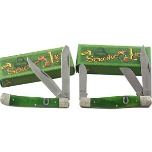 Rough Rider Green Smooth Stroke of Luck Trapper & Stockman Pocket Knife Set