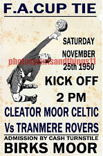 CLEATOR MOOR CELTIC - VINTAGE STYLE MATCH POSTER 1950/51