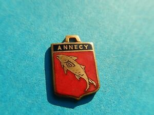 Vintage Enamel french Travel Shield Charms  FISH TROUT ANNECY  COAT OF ARMS