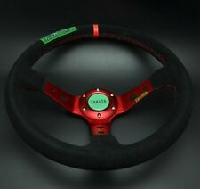 350mm Suede Leather Deep Dish Steering Wheel Drifting MOMO Race OMP Red ST Tatak