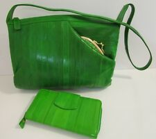 3 PC EEL skin Leather HANDBAG with WALLET & COIN Purse Lime Green LEE SANDS