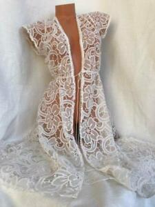 Victoria's Secret Embroidery Sheer Floral Beige Night Gown Kimono Robe NWT