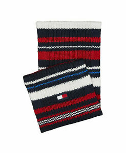 Tommy Hilfiger Men's Scarf Red Blue One Size Textured Colorblocked $55- #109