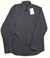 Theory Mens Deep Blue Button Front Long Sleeve Shirt Size Medium NWT $225