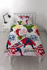 Marvel Avengers Mission Single Duvet Cover Set Rotary Childrens - 2 Designs in 1