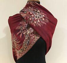 Pashmina Winter Red Floral Design Shawl Scarf Wrap Large Size