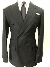 Black super 150 Cerruti double breasted suit with wide Tom Ford like peak lapel