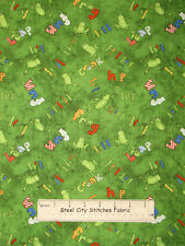 Froggy Fun Green Frog Ribbit  Hop Frogs Toad Leap Wilmington Cotton Fabric YARD
