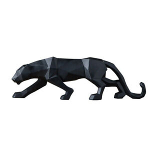 Panther Statue Animal Leopard Figurines Sculpture Home Office Crafts Decoration