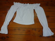 Womens off the Shoulder White Top with Long Flared Sleeves size S
