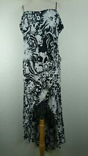 Cartise Sz US 12 Black White Floral Sleeveless Tall Dress High Low Hem Canada F