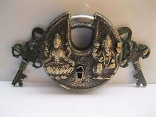 Antique Look Door Pad Lock Laxmi & Ganesh Figurine 3""
