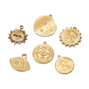 5pcs Stainless Steel Gold Star Pendant Irregular Eye Medal Charms Jewelry Making