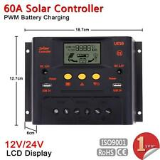 Intelligent 60A 12V/24V LCD Solar Panel Battery Regulator Charge Controller MT