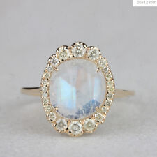 Blue Moonstone Gemstone Cocktail Ring Diamond Solid 14k Yellow Gold Fine Jewelry